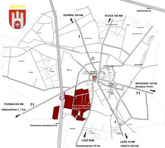 Plan Zgierza z terenem Parku Przemysłowego Boruta Zgierz (plan 1)